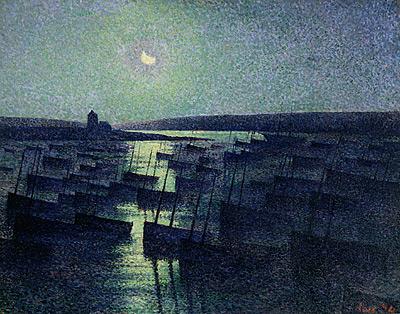 Normandie maximilien-luce-1858-1941-camaret-clair-de-lune-et-flottille-de-pc3aache-1894-huile-sur-toile-724-x-921-cm-saint-art-museum-missouri